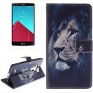 For LG G4 Lion 2 Side Pattern Leather Case with Holder, Card Slots & Wallet