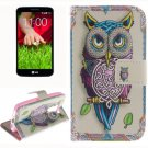 For LG G2 mini Owl 2 Side Pattern Leather Case with Holder, Card Slots & Wallet