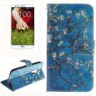 For LG G2 Plum 2 Side Pattern Leather Case with Holder, Card Slots & Wallet