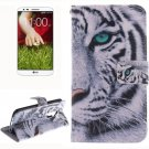 For LG G2 Tiger 2 Side Pattern Leather Case with Holder, Card Slots & Wallet