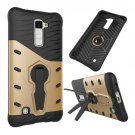 For LG K10 Gold Rotating Tough Armor TPU + PC Combination Case & Holder