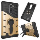 For LG K7 Gold Rotating Tough Armor TPU + PC Combination Case & Holder