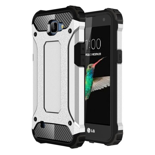 For LG K4 Silver Tough Armor TPU + PC Combination Case