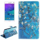 For Galaxy Note 4 Flower Pattern Leather Case with Holder, Card Slot & Wallet