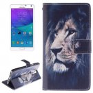 For Galaxy Note 4 Lion Pattern Leather Case with Holder, Card Slot & Wallet