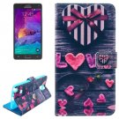 For Galaxy Note 4 Heart Magnetic Case with Holder, Wallet & Card Slots