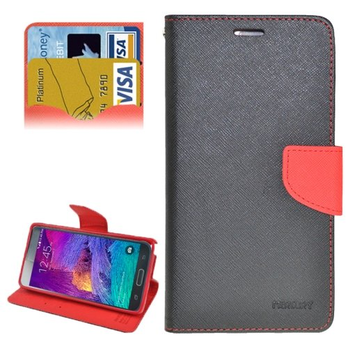 For Galaxy Note 4 Black + Red cross Flip Leather Case with Credit Card Slots