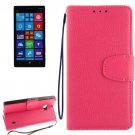 For Lumia 930 Magenta Litchi Flip Leather Case with Holder, Card Slots & Wallet