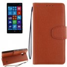 For Lumia 930 Brown Litchi Flip Leather Case with Holder, Card Slots & Wallet