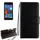 For Lumia 730 Black Litchi Flip Leather Case with Holder, Card Slots & Wallet
