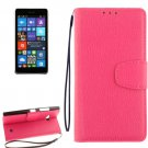 For Lumia 730 Magenta Litchi Flip Leather Case with Holder, Card Slots & Wallet