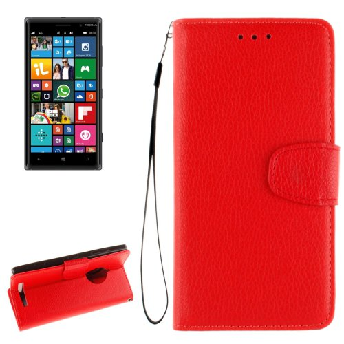 For Lumia 830 Red Litchi Flip Leather Case with Holder, Card Slots & Wallet