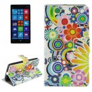 For Lumia 930 Flower Pattern Leather Case with Holder, Card Slots & Wallet