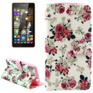 For Lumia 535 Rose Pattern Leather Case with Holder, Card Slots & Wallet