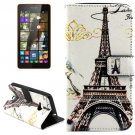 For Lumia 535 Eiffel Pattern Leather Case with Holder, Card Slots & Wallet
