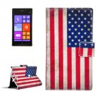 For Lumia 925 US Flag Pattern Leather Case with Holder, Card Slots & Wallet