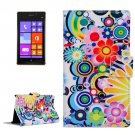 For Lumia 925 Flower Pattern Leather Case with Holder, Card Slots & Wallet