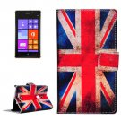 For Lumia 925 UK Flag Pattern Leather Case with Holder, Card Slots & Wallet