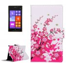 For Lumia 925 Blossom Pattern Leather Case with Holder, Card Slots & Wallet