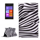 For Lumia 925 Zebra Pattern Leather Case with Holder, Card Slots & Wallet