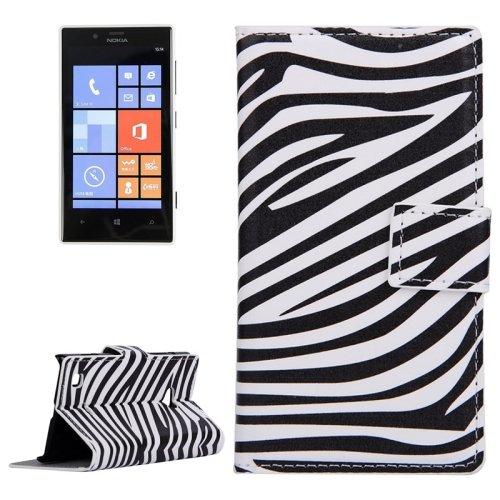 For Lumia 720 Zebra Pattern Leather Case with Holder, Card Slots & Wallet