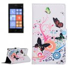 For Lumia 720 Butterfly Pattern Leather Case with Holder, Card Slots & Wallet