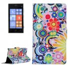 For Lumia 720 Flower Pattern Leather Case with Holder, Card Slots & Wallet