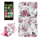 For Lumia 830 Flower Pattern Cross Leather Case with Holder & Card Slots