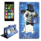 For Lumia 830 Dog Pattern Cross Leather Case with Holder & Card Slots