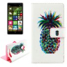 For Lumia 830 Pineapple Pattern Cross Leather Case with Holder & Card Slots