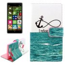 For Lumia 830 Sea Pattern Cross Leather Case with Holder & Card Slots