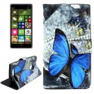 For Lumia 830 Butterfly Pattern Cross Leather Case with Holder & Card Slots