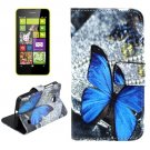 For Lumia 630 Butterfly Pattern Cross Leather Case with Holder & Card Slots