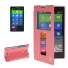 For Lumia XL Pink Flip Leather Case with Call Display ID & Holder