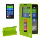 For Lumia XL Green Flip Leather Case with Call Display ID & Holder