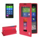 For Lumia XL Magenta Flip Leather Case with Call Display ID & Holder
