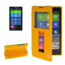 For Lumia XL Yellow Flip Leather Case with Call Display ID & Holder