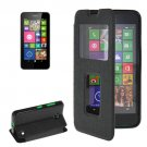 For Lumia 630 Black Flip Leather Case with Call Display ID & Holder