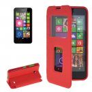 For Lumia 630 Red Flip Leather Case with Call Display ID & Holder