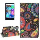 For Lumia 930 Acaleph Pattern Leather Case with Holder, Card Slots & Wallet