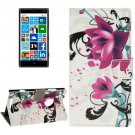 For Lumia 830 Lotus Pattern Leather Case with Holder, Card Slots & Wallet