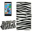 For Lumia 830 Zebra Pattern Leather Case with Holder, Card Slots & Wallet
