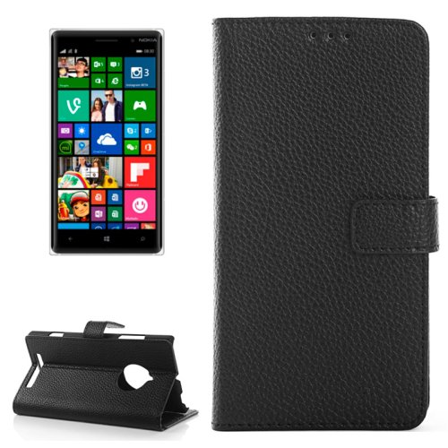For Lumia 830 Black Magnetic Litchi Leather Case with Holder, Card Slots & Wallet