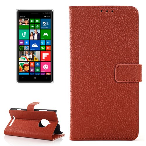 For Lumia 830 Brown Magnetic Litchi Leather Case with Holder, Card Slots & Wallet