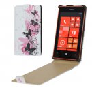 For Lumia 520 Butterflies Dancing Pattern Vertical Flip Leather Case