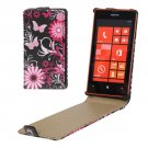 For Lumia 520 Butterflies over Flowers Pattern Vertical Flip Leather Case