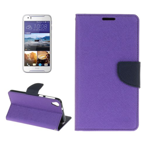 For HTC Desire 830 Purple Cross Leather Case with Holder, Card Slots & Wallet