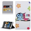 For HTC Desire 530 Owl Pattern Leather Case with Holder, Card Slots & Wallet