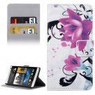 For HTC Desire 530 Lotus Pattern Leather Case with Holder, Card Slots & Wallet