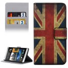 For HTC Desire 530 UK Flag Pattern Leather Case with Holder, Card Slots & Wallet